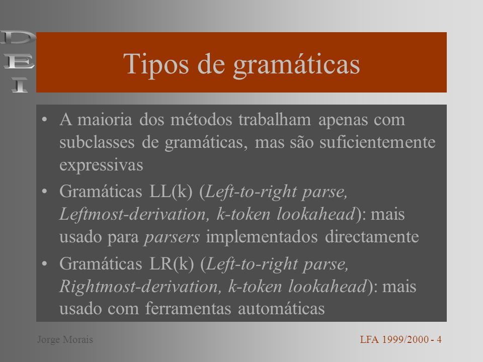 Tipos de gramáticas DEI