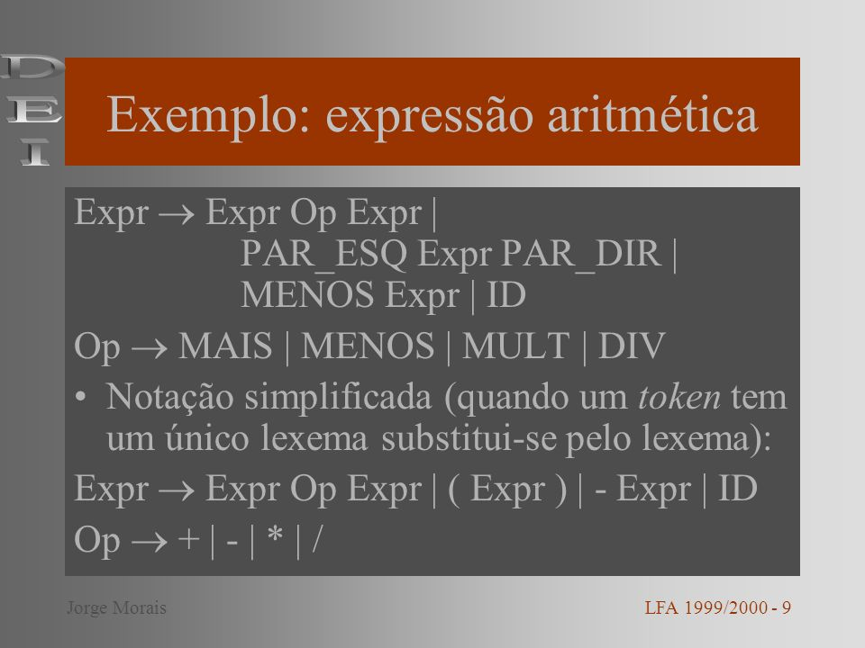 Exemplo: expressão aritmética