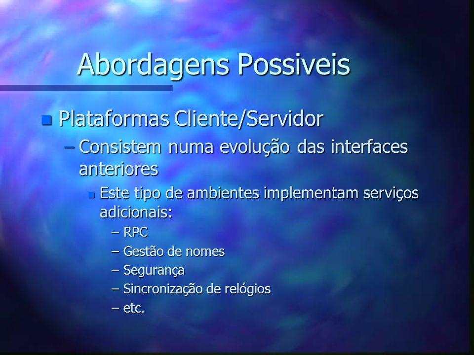 Abordagens Possiveis Plataformas Cliente/Servidor