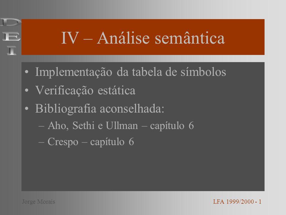 IV – Análise semântica DEI Implementação da tabela de símbolos