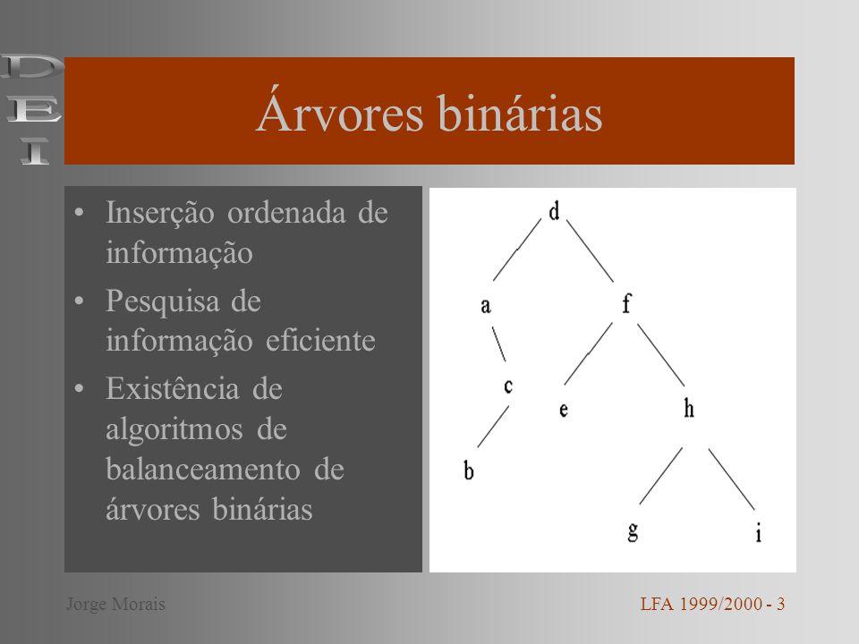 Árvores binárias DEI Inserção ordenada de informação
