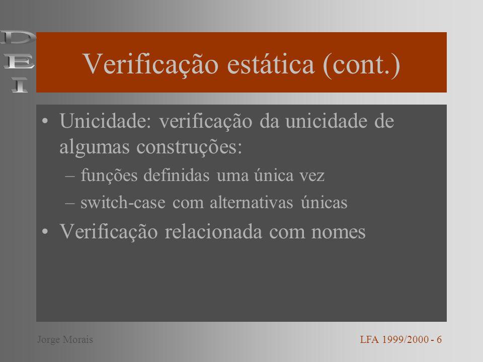 Verificação estática (cont.)