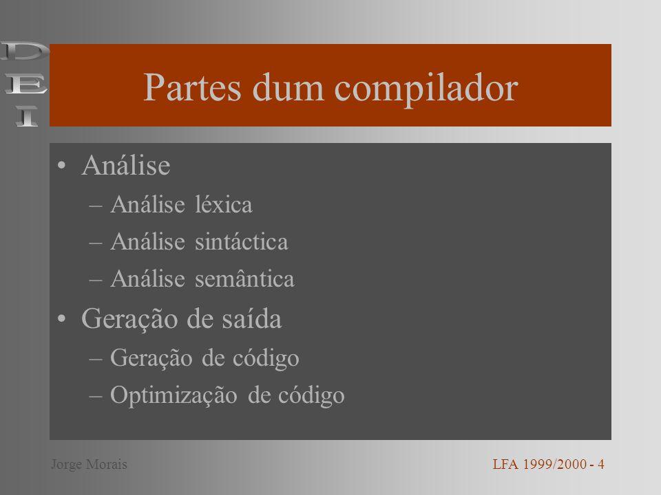 Partes dum compilador DEI Análise Geração de saída Análise léxica