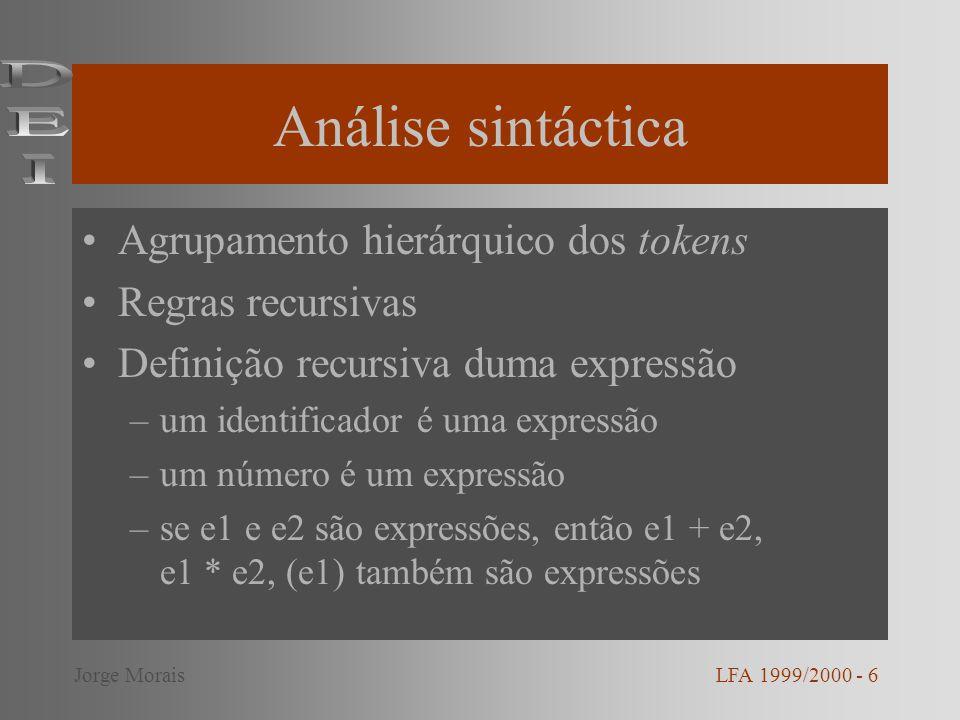 Análise sintáctica DEI Agrupamento hierárquico dos tokens