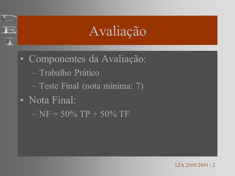 Avaliação DEI Componentes da Avaliação: Nota Final: Trabalho Prático