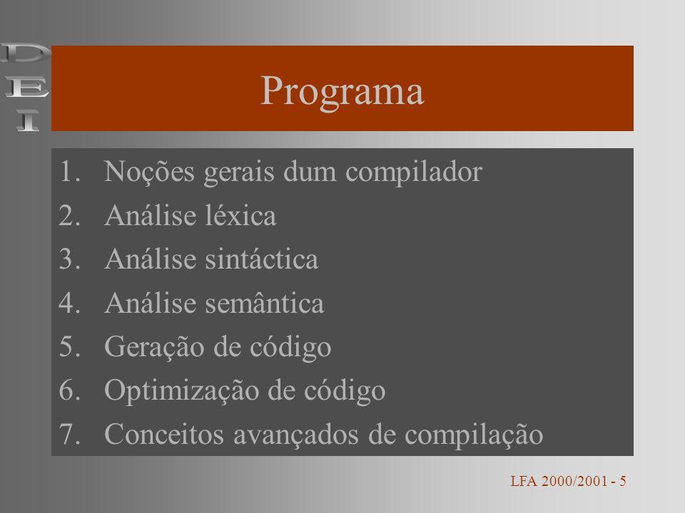Programa DEI Noções gerais dum compilador Análise léxica