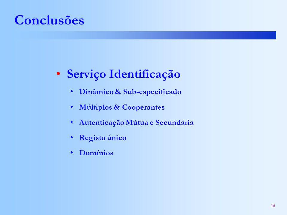 Conclusões Serviço Identificação Dinâmico & Sub-especificado