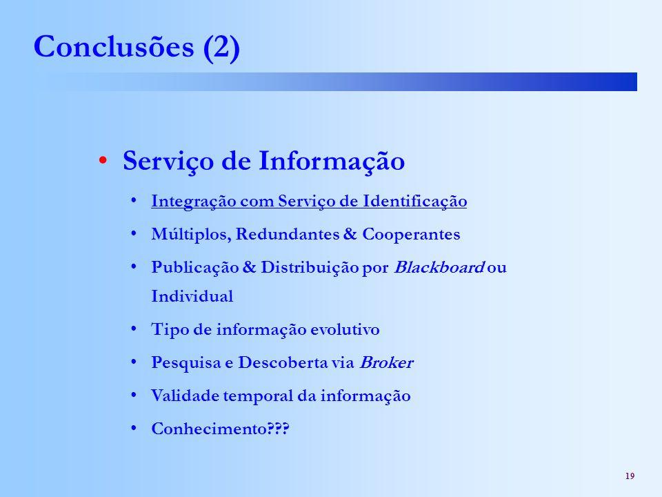 Conclusões (2) Serviço de Informação
