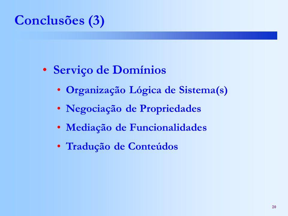 Conclusões (3) Serviço de Domínios Organização Lógica de Sistema(s)