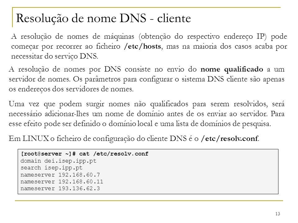 Resolução de nome DNS - cliente