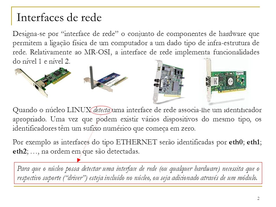 Interfaces de rede