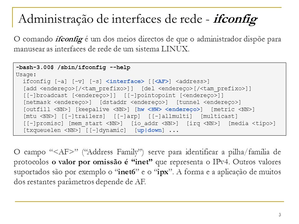 Administração de interfaces de rede - ifconfig
