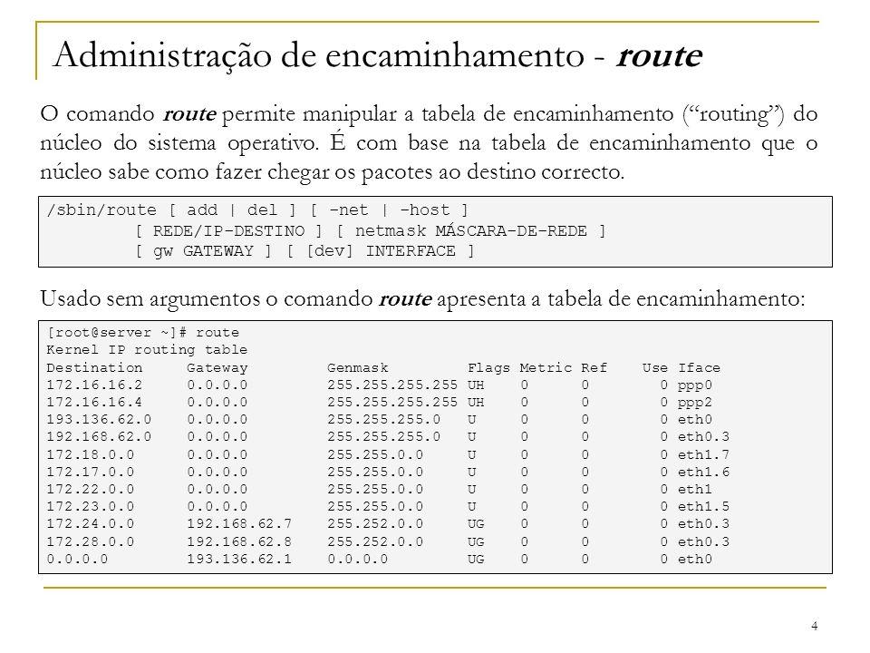 Administração de encaminhamento - route