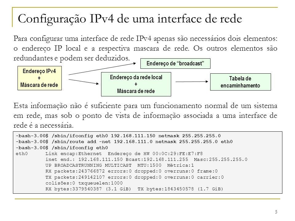 Configuração IPv4 de uma interface de rede