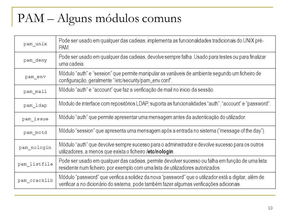 PAM – Alguns módulos comuns