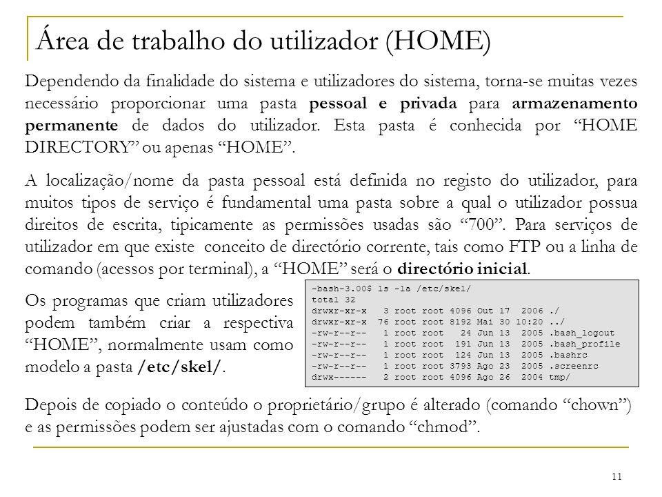 Área de trabalho do utilizador (HOME)