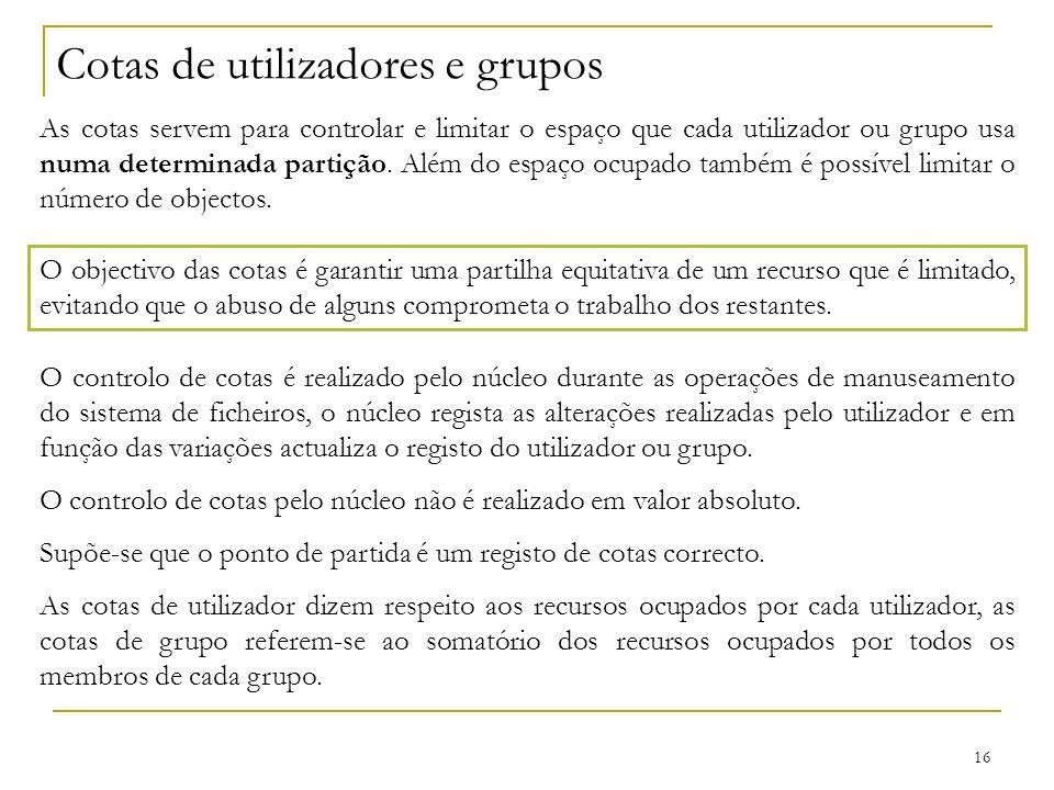 Cotas de utilizadores e grupos