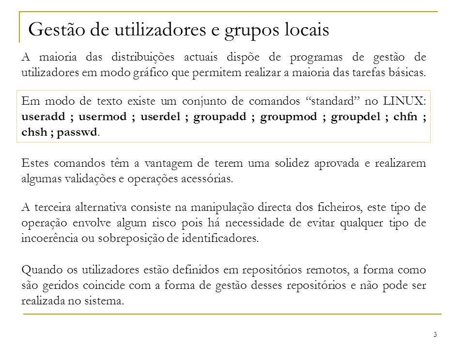 Gestão de utilizadores e grupos locais