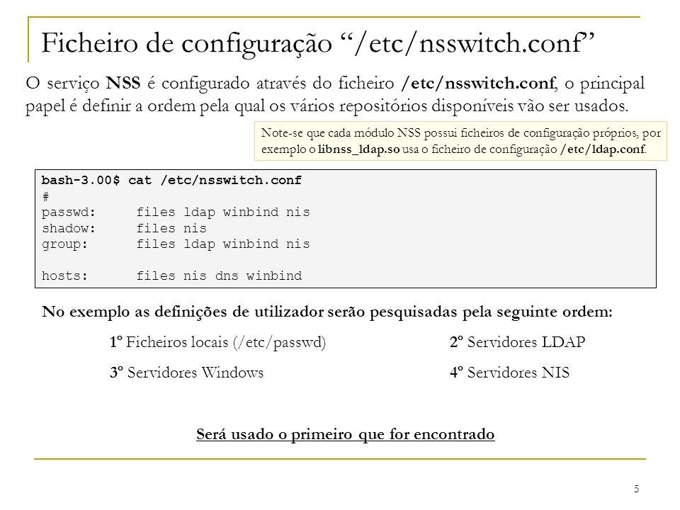 Ficheiro de configuração /etc/nsswitch.conf