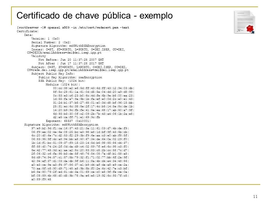 Certificado de chave pública - exemplo