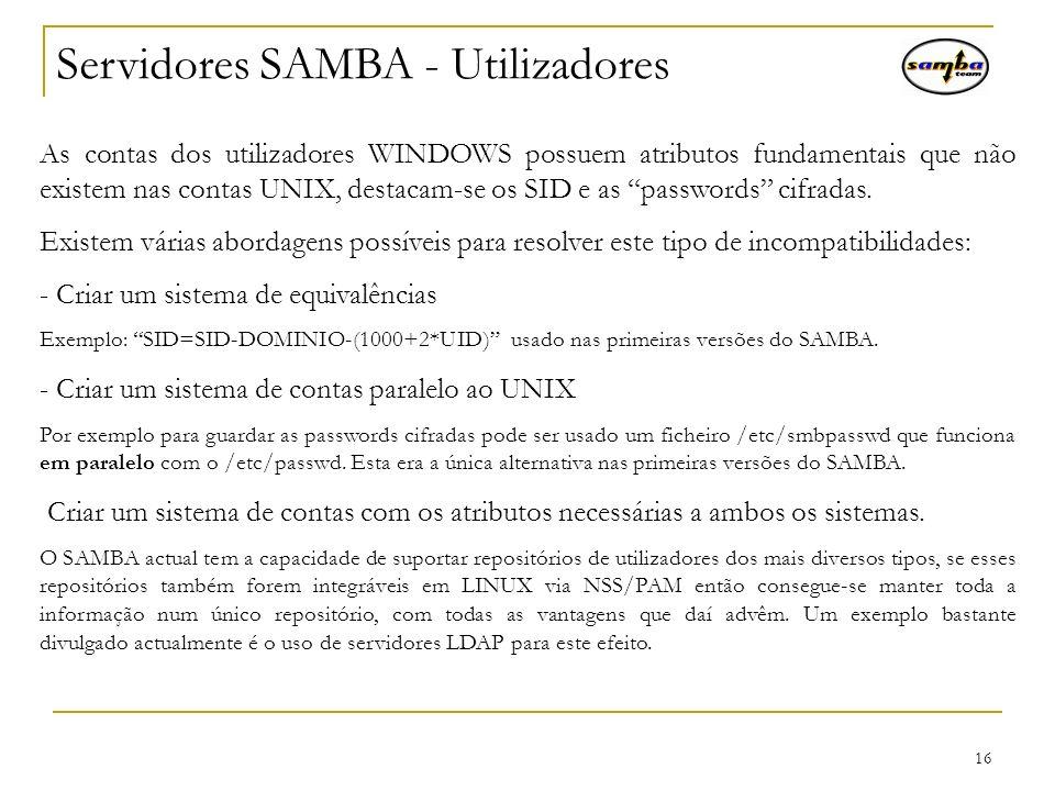 Servidores SAMBA - Utilizadores