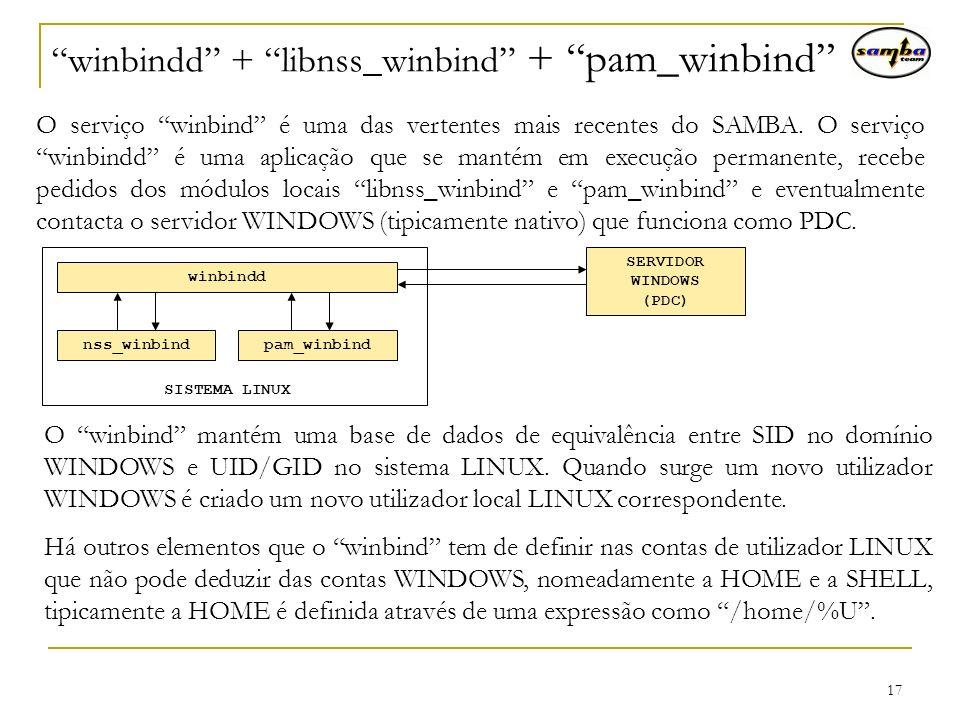 winbindd + libnss_winbind + pam_winbind