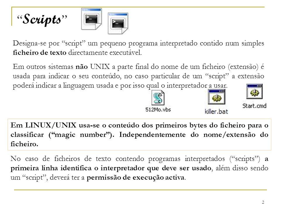 Scripts Designa-se por script um pequeno programa interpretado contido num simples ficheiro de texto directamente executável.
