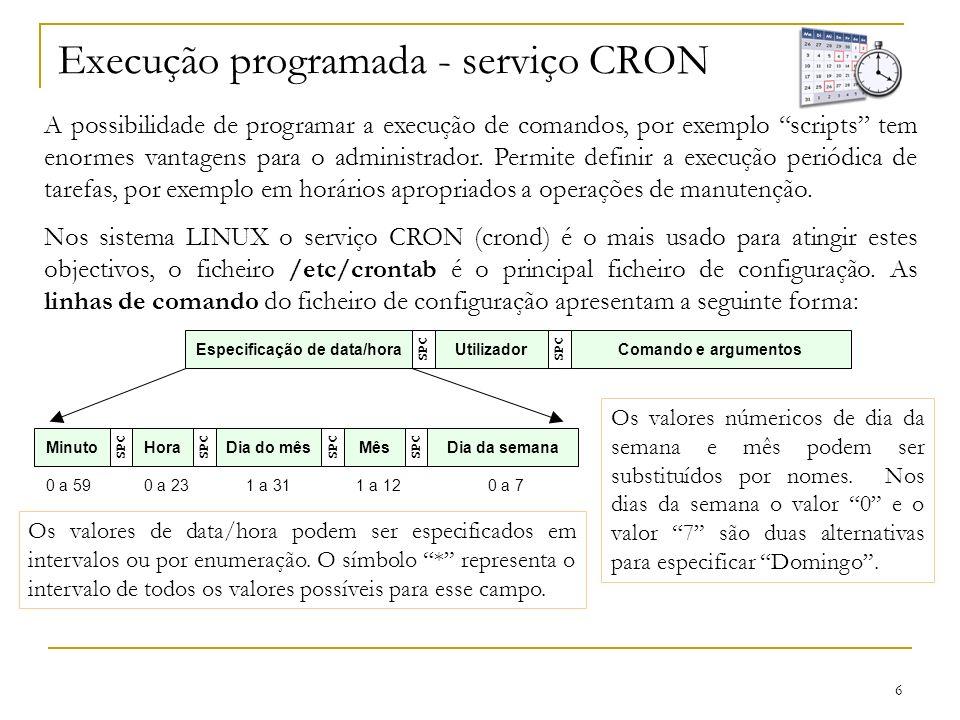 Execução programada - serviço CRON