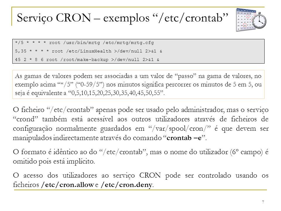 Serviço CRON – exemplos /etc/crontab