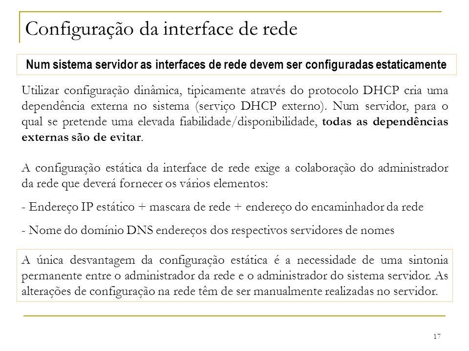 Configuração da interface de rede
