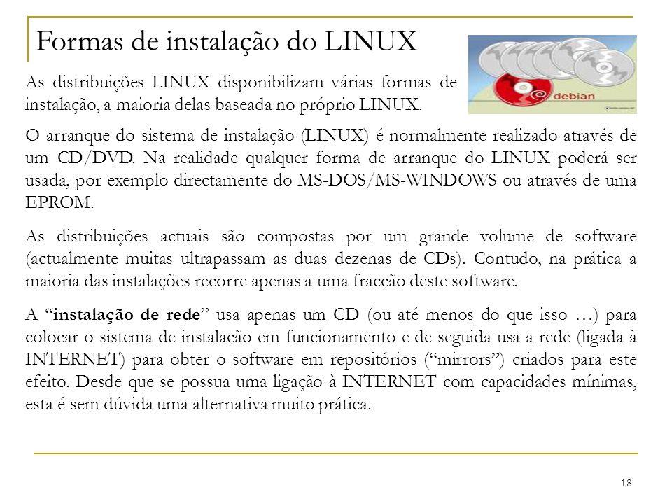 Formas de instalação do LINUX