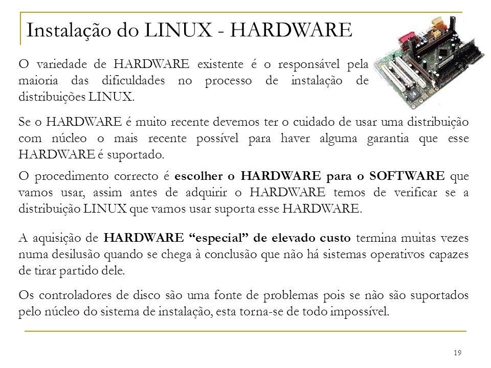 Instalação do LINUX - HARDWARE