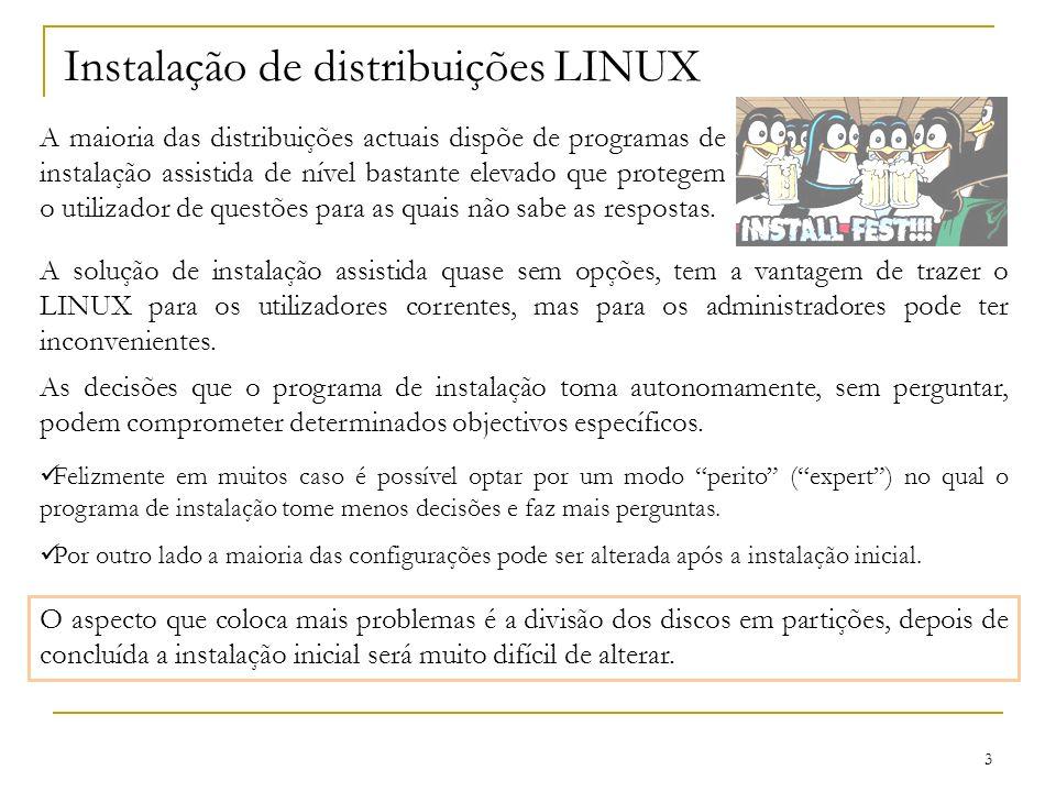 Instalação de distribuições LINUX