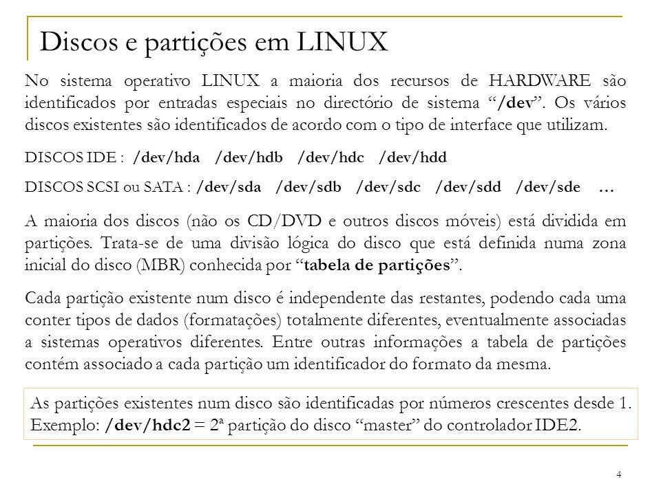 Discos e partições em LINUX