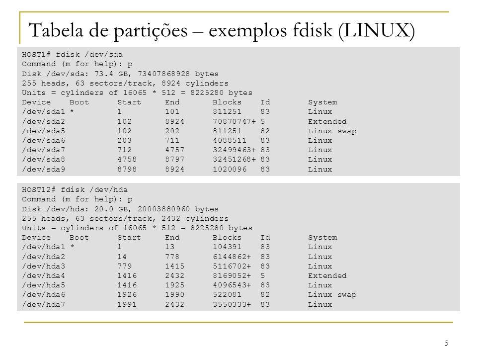 Tabela de partições – exemplos fdisk (LINUX)