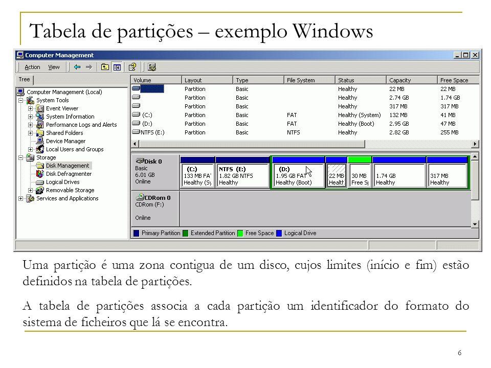 Tabela de partições – exemplo Windows