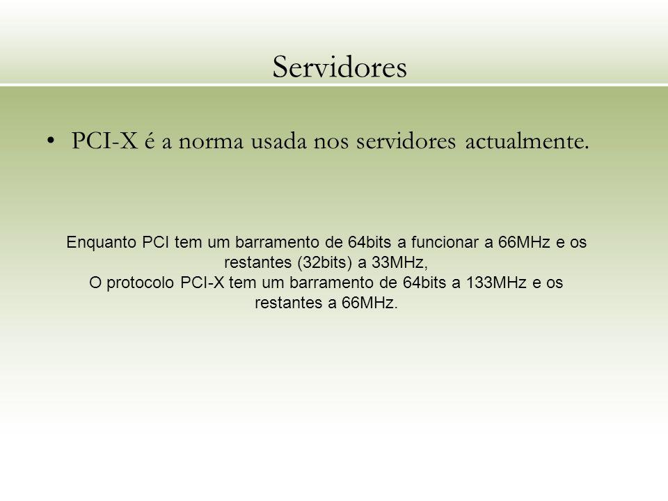 Servidores PCI-X é a norma usada nos servidores actualmente.