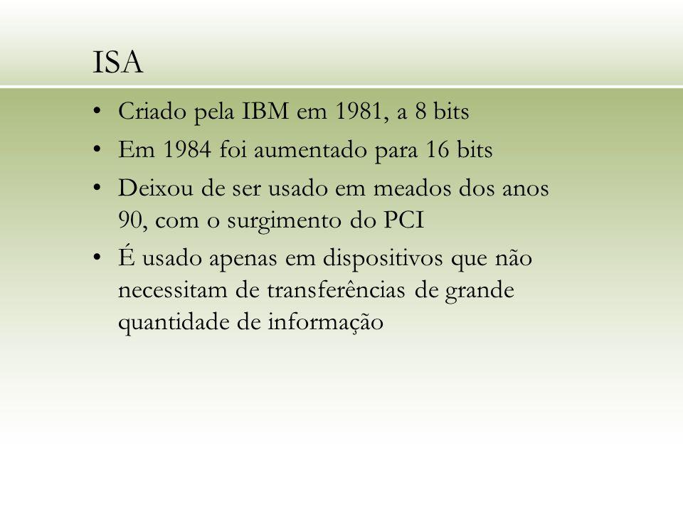 ISA Criado pela IBM em 1981, a 8 bits