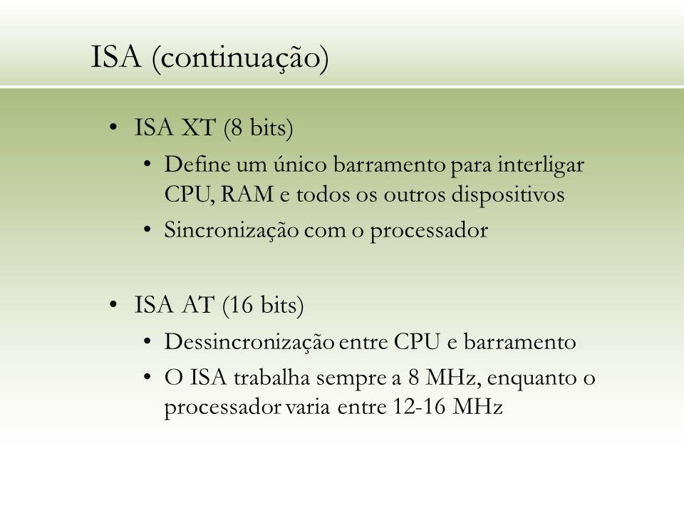 ISA (continuação) ISA XT (8 bits) ISA AT (16 bits)