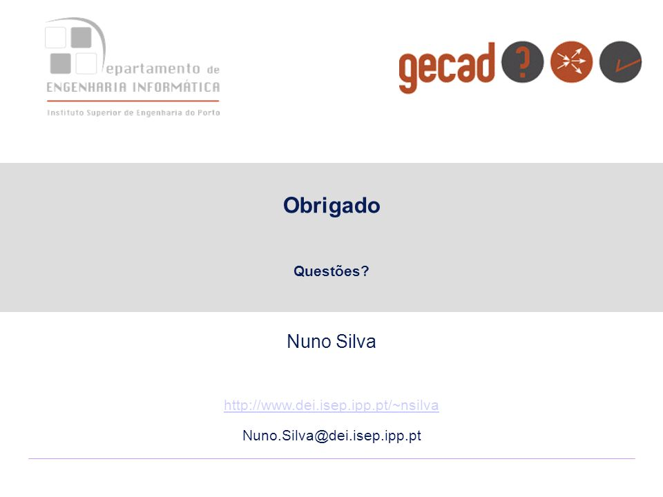 Obrigado Nuno Silva Questões http://www.dei.isep.ipp.pt/~nsilva