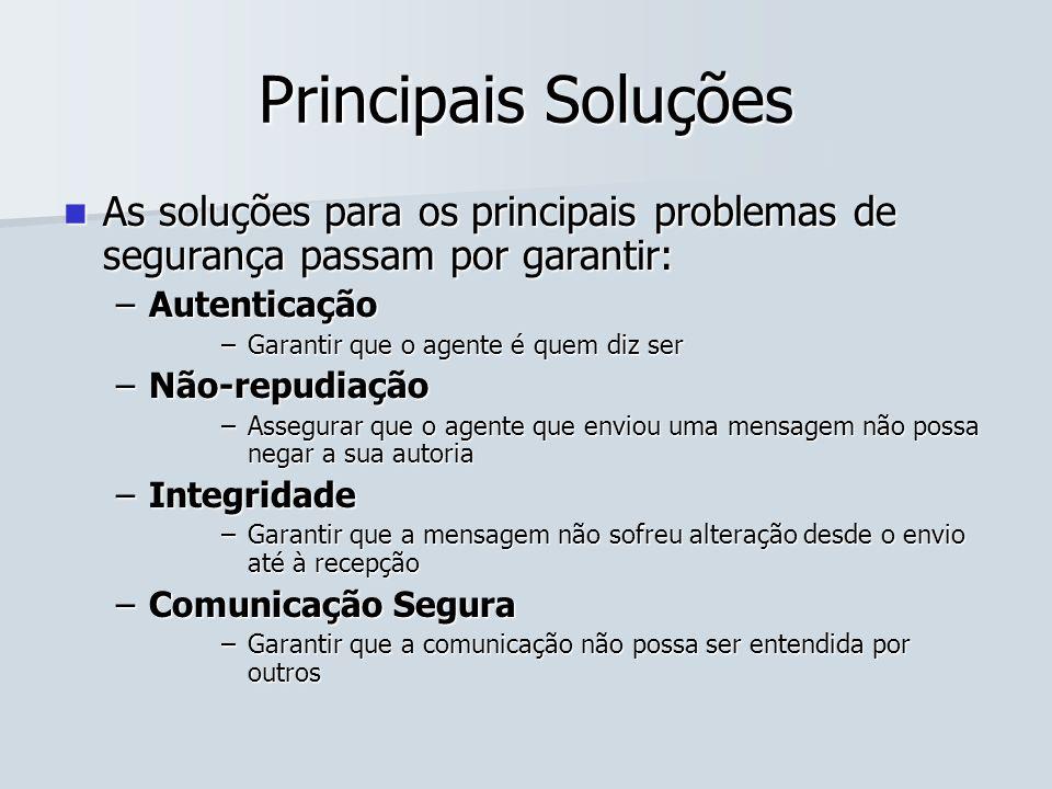 Principais Soluções As soluções para os principais problemas de segurança passam por garantir: Autenticação.