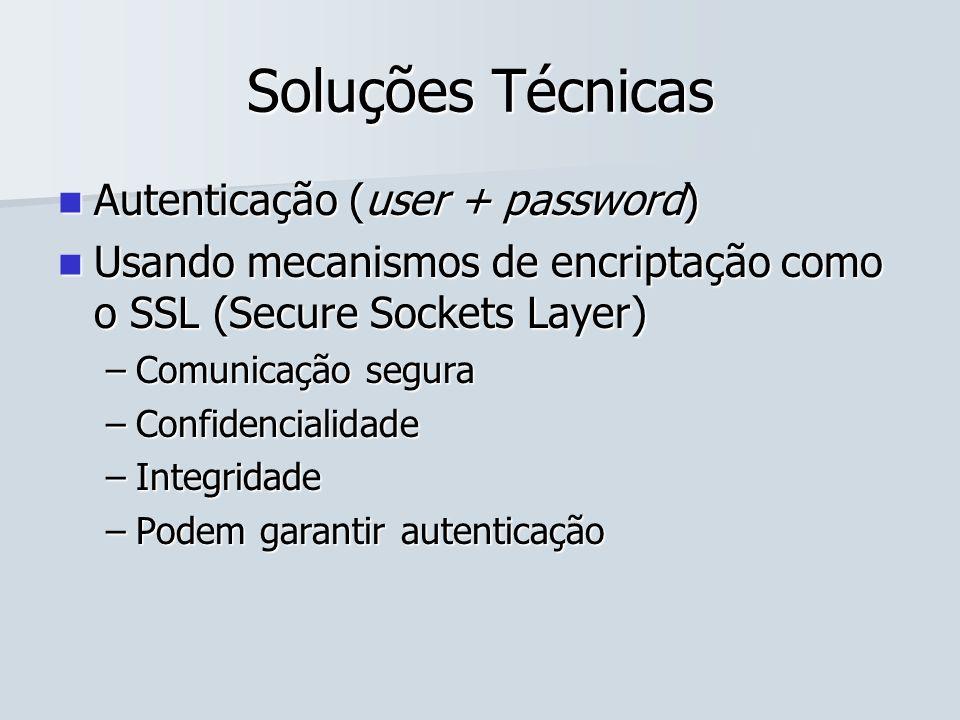 Soluções Técnicas Autenticação (user + password)