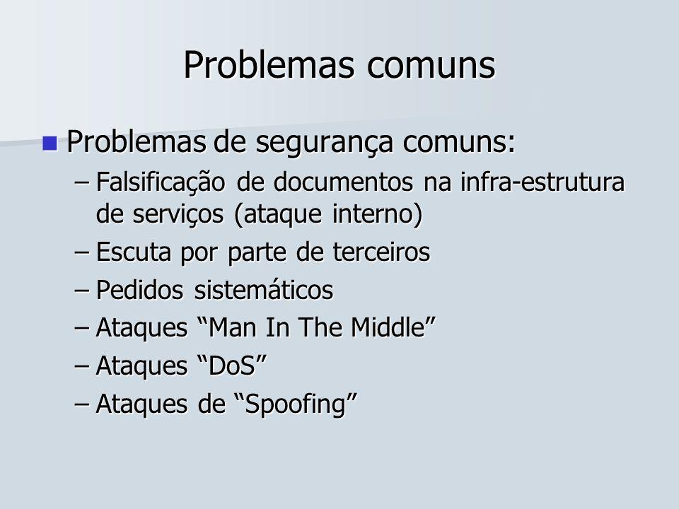 Problemas comuns Problemas de segurança comuns: