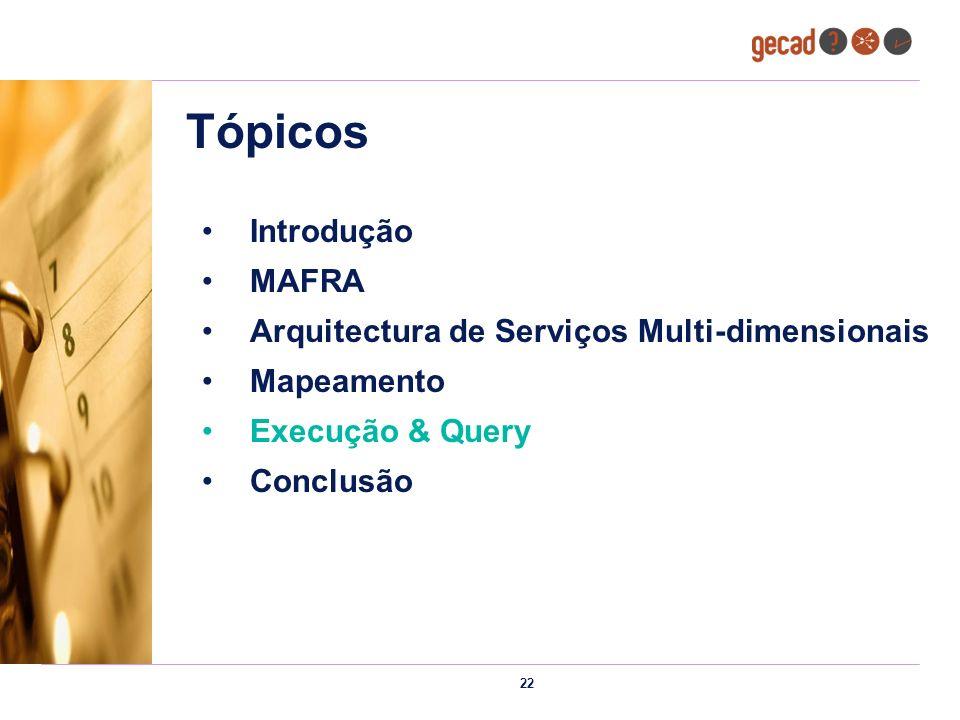 Tópicos Introdução MAFRA Arquitectura de Serviços Multi-dimensionais