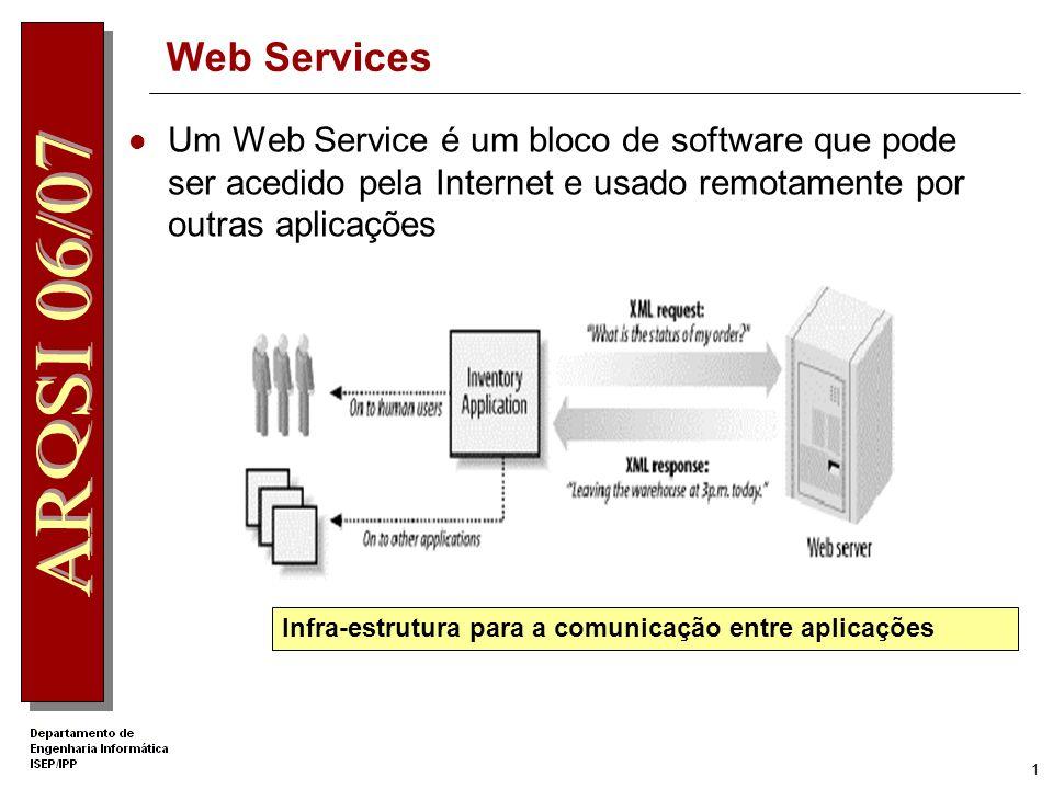Web Services Um Web Service é um bloco de software que pode ser acedido pela Internet e usado remotamente por outras aplicações.