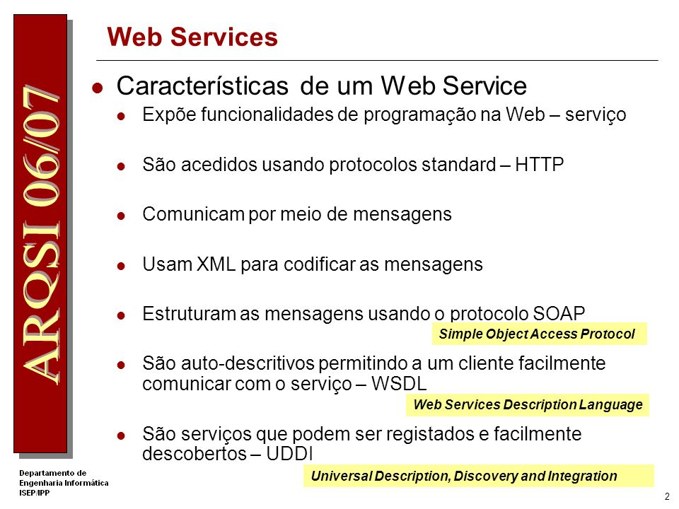 Características de um Web Service