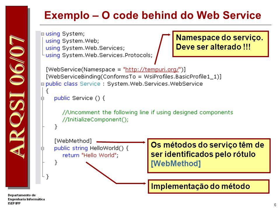 Exemplo – O code behind do Web Service