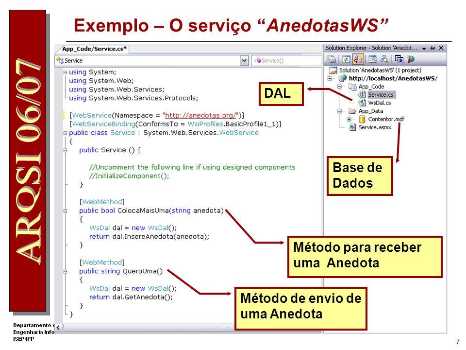 Exemplo – O serviço AnedotasWS