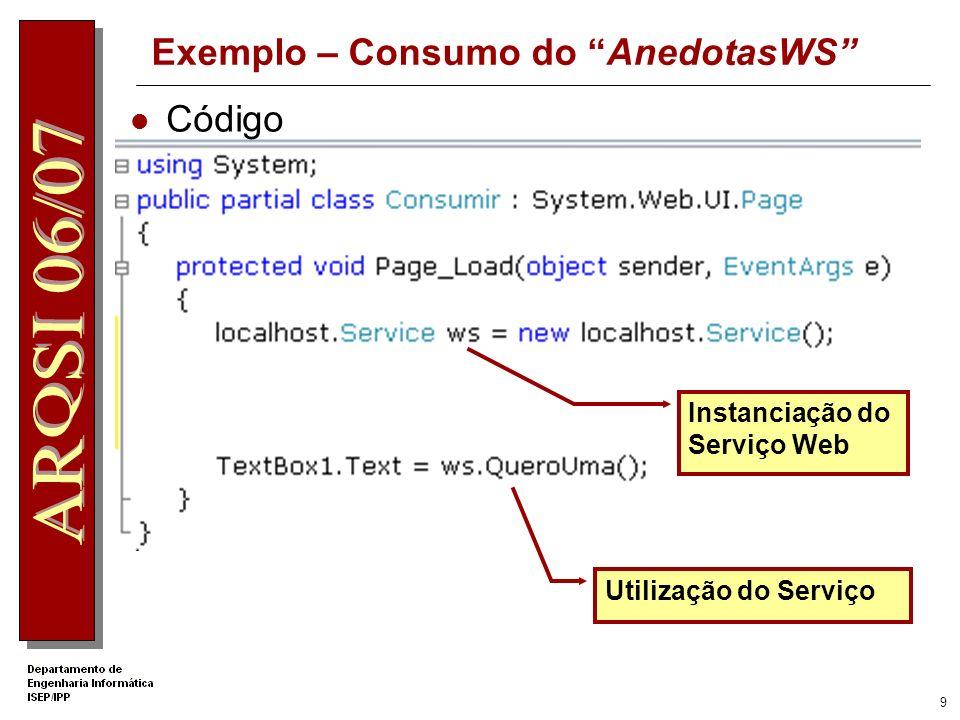 Exemplo – Consumo do AnedotasWS