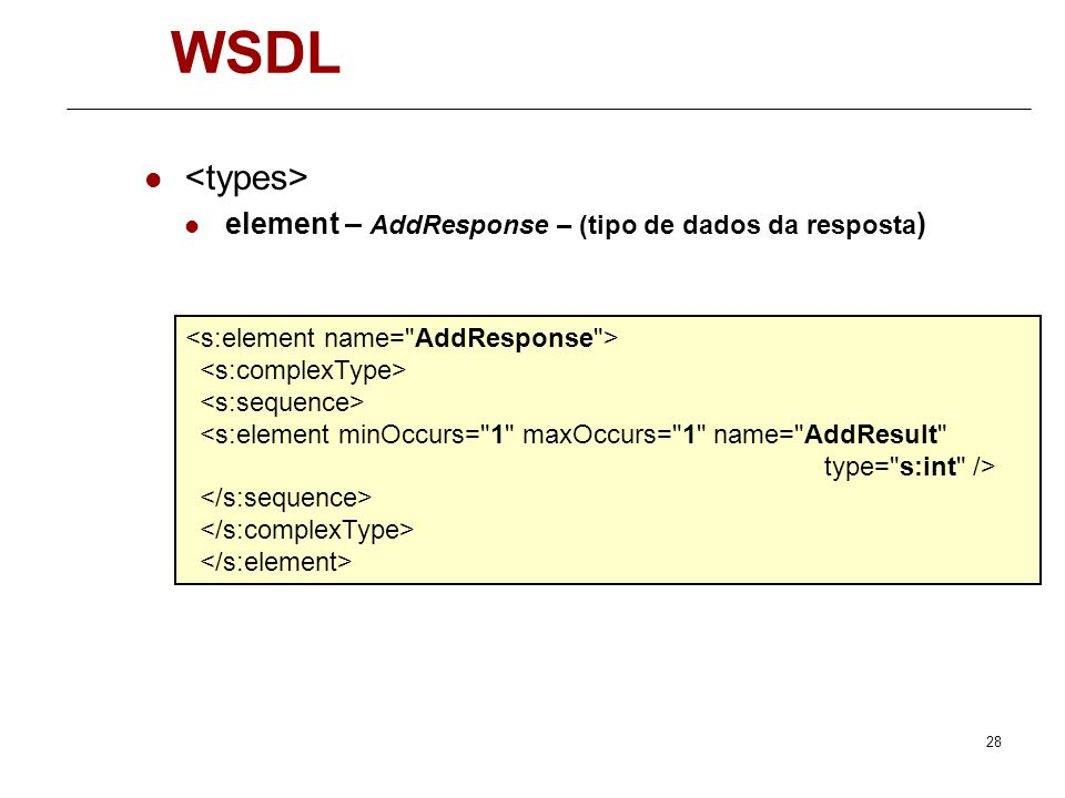 WSDL <types> element – AddResponse – (tipo de dados da resposta)